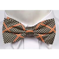 NotchTied bow tie from Tieroom, Notch KAJ, dogstooth in black orange