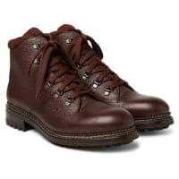 O KeeffeAustin Shearling-lined Weatherproof Pebble-grain Leather Boots - Chocolate