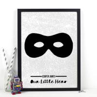 Of Life & LemonsPersonalised Superhero Monochrome Print