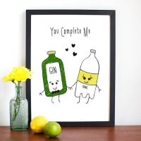 Of Life & LemonsYou Complete Me Personalised Gin Print
