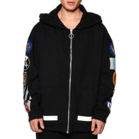 Off-whiteZip-Up Hoodie w/Arm Patches, Black/White