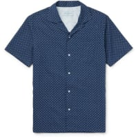 Officine GeneraleCamp-collar Polka-dot Cotton Shirt - navy