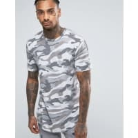 Only & SonsLongline T-Shirt With Curved Hem in Camo - Grey