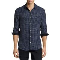 Original PenguinCheck-Print Cotton Shirt, Dark Sapphire