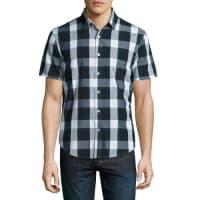 Original PenguinShort Plaid Short-Sleeve Sport Shirt, Green