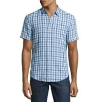 Original PenguinShort-Sleeve Linen Gingham Shirt, Blue