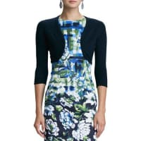 Oscar De La Renta3/4-Sleeve Cashmere/Silk Knit Bolero Cardigan, Navy