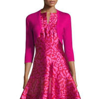 Oscar De La Renta3/4-Sleeve Open-Front Bolero Cardigan, Hot Pink