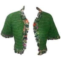 Oscar De La RentaOscar De La Renta Hand Knit Green Silk Bolero With Ribbon Trim With Tags