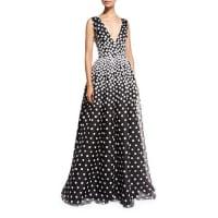 Oscar De La RentaSleeveless V-Neck Gown w/Floral-Embroidered Overlay, Black/White