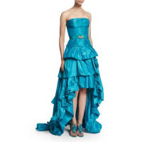 Oscar De La RentaStrapless Tiered-Ruffle High-Low Gown, Aqua