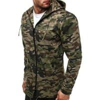 OZONEEHerren Übergangsjacke Jacke Windjacke Sweats Militärstil Sweatjacke Camouflage Camo Militärjacke Armee Parkajacke OZN-466 DUNKELGRÜN XL