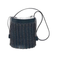 Paco RabanneGrommet-Studded Leather Bucket Bag, Navy