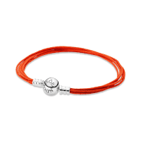 PandoraMoments Orange Multi-Strand Bracelet -Textile/ synthetical fibers / Sterling Silver