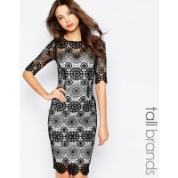 Paper Dolls TallCrochet Lace Pencil Dress - Black