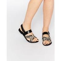 Park LaneCross Strap Sling Leather Flat Sandals