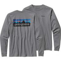 PatagoniaMs P-6 Logo LS T-Shirt Gravel Heather S T-skjorter langermet
