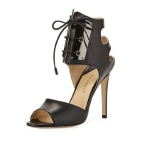 PAUL ANDREWLeather Lace-Front Sandal, Black