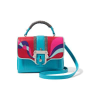 Paula CademartoriDun Dun Mini Appliquéd Leather And Glittered Suede Shoulder Bag - Azure