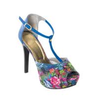 PerfectaSandalia Meia Pata com Estampa Floral Azul