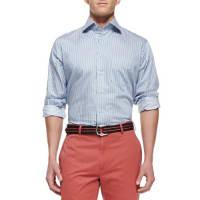 Peter MillarBlue Bengal-Stripe Dress Shirt, Navy