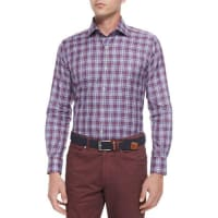 Peter MillarMelange Plaid Long-Sleeve Sport Shirt, Red