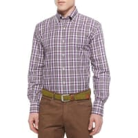 Peter MillarMidtown Plaid Woven Sport Shirt, Red