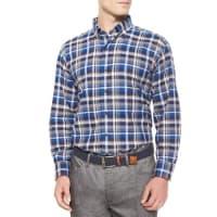 Peter MillarMilano Oxford Plaid Woven Sport Shirt, Blue