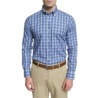 Peter MillarPlaid Long-Sleeve Sport Shirt, Dark Blue