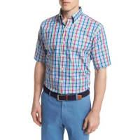 Peter MillarPlaid Short-Sleeve Woven Shirt, Blue