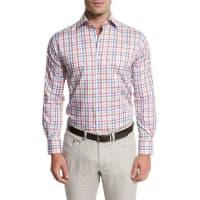 Peter MillarSummer Melange Check Shirt, Cape Red