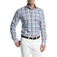 Peter MillarTuscan Plaid Long-Sleeve Sport Shirt, Blue