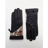 Pia RossiniLeather Gloves With Leopard Insert - Black