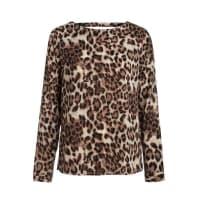 PiecesRückenfreie Langarmbluse Leopard braun