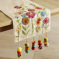 Pier 1 ImportsBright Flowers with Pompoms 72 Table Runner