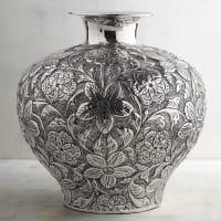 Pier 1 ImportsFloral Embossed Silver Short Vase