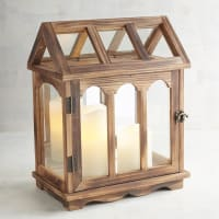 Pier 1 ImportsWooden House Brown Lantern