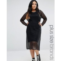 Pink CloveLong Sleeve Fishnet Midi Dress - Black