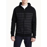 Point ZeroEmbossed stripe hooded cardigan