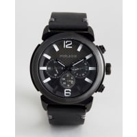 PoliceConcept Black Leather Watch - Black