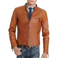 Polo Ralph LaurenLambskin Leather Cafe Racer Jacket