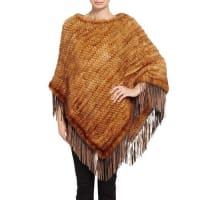 PologeorgisFringe Mink Fur Poncho, Brown
