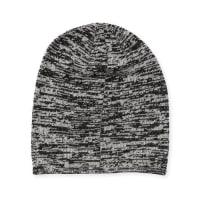 PortolanoMarled Knit Beanie Hat, Black/Latte