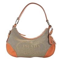 PradaBeige & Orange Prada Canvas Hobo Bag