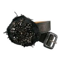 PradaBlack Leather Rhinestone Flower Patch Belt