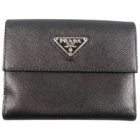 PradaBlack Saffiano Textured Leather Coin Pouch Wallet