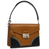 PradaCognac Leather Colorblock Kelly Style Top Handle Satchel Flap Bag