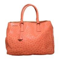 PradaGorgeous Prada Galleria Saffiano Peach Coral Ostrich Leather Tote Bag