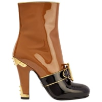 PradaNew Runway Cognac Colorblock Gold Patent Ankle Boots Shoes In Box