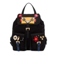 PradaRobot Small Two-Pocket Backpack, Black/Multi (Nero)